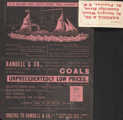 Advert for Randall & Co, coals
